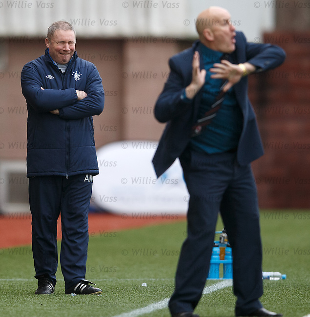 Ally McCoist laughing at the antics of Jim Duffy