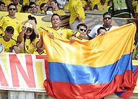 .BARRANQUILLA - COLOMBIA -22-03-2013: Hinchas de Colombia, animan a su equipo , durante  partido Colombia – Bolivia en el Estadio Metropolitano Roberto Meléndez en la ciudad de Barranquilla, marzo 22 de 2013. Partido de la 11 ª fecha de las Clasificatorias Sudamericanas para la Copa Mundial de la FIFA Brasil 2014.  Fans of Colombia, cheers for their team during a match Colombia – Bolivia at the Metropolitan Stadium Roberto Melendez in Barranquilla city, on March 16, 2013. Game of the 11th round of the South American Qualifiers for the FIFA World Cup Brazil 2014. (Photo: VizzorImage / Luis Ramirez / Staff.)