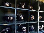29 September 2012: The batting helmets of the Detroit Tigers are ready in their rack prior to a game against the Minnesota Twins at Target Field in Minneapolis, MN. The Tigers defeated the Twins 6-4 in the second game of their 3-game series. Mandatory Credit: Ed Wolfstein Photo