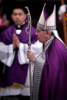 Pope Francis  during the penitential celebration in St. Peter's Basilica at the Vatican, March 17, 2017.