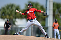 Boston Red Sox pitcher Ty Buttrey during a minor league spring training game against the Baltimore Orioles on March 18, 2015 at Buck O'Neil Complex in Sarasota, Florida.  (Mike Janes/Four Seam Images)