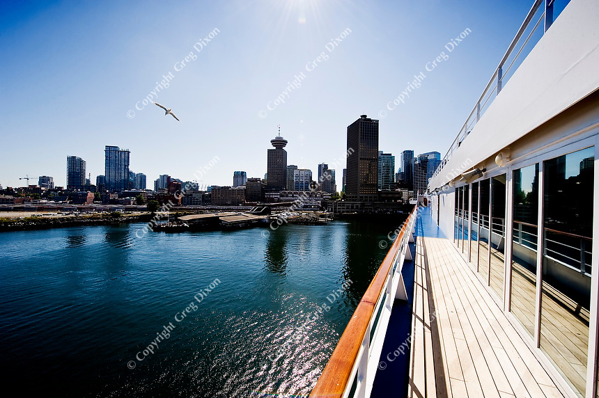 The skyline of Vancouver, British Columbia, Canada is seen off the deck of a cruise ship in port on 8/31/11