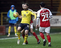 Oxford United's James Henry shields the ball from Fleetwood Town's Lewis Coyle<br /> <br /> Photographer Rich Linley/CameraSport<br /> <br /> The EFL Sky Bet League One - Fleetwood Town v Oxford United - Saturday 12th January 2019 - Highbury Stadium - Fleetwood<br /> <br /> World Copyright &copy; 2019 CameraSport. All rights reserved. 43 Linden Ave. Countesthorpe. Leicester. England. LE8 5PG - Tel: +44 (0) 116 277 4147 - admin@camerasport.com - www.camerasport.com