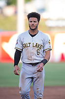 Salt Lake Bees center fielder Michael Hermosillo (6) during a Pacific Coast League game against the Fresno Grizzlies at Chukchansi Park on May 14, 2018 in Fresno, California. Fresno defeated Salt Lake 4-3. (Zachary Lucy/Four Seam Images)