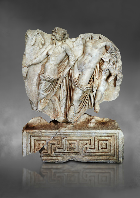 Roman Sebasteion relief  sculpture of Dionysus Drunk Aphrodisias Museum, Aphrodisias, Turkey.  Against a grey background.<br /> <br /> A prancing woodland nymph leads drunken Dionysus who supports himself languidly on a small satyr. This is an image of Dionysian enjoyment and pleasure, hellenistic in style and fluently designed