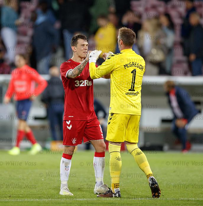 08.08.2019 FC Midtjylland v Rangers: Ryan Jack and Allan McGregor
