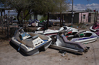 MEXICALI, MEXICO - March 12. A general view of abandoned jet ski on March 12, 2019 in Mexicali, Mexico.<br /> The rivers usually end in the sea, the Colorado dies in a border. Its the only case like this in the world. There is less water in the Colorado River, hence less water in crops and areas of northern Mexico.  <br /> (Photo by Luis Boza/VIEWpress)