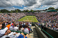 London, England, 3 July, 2016, Tennis, Wimbledon, Overall view of court two with the match Jo-Wilfried Tsonga (FRA) against John Isner (USA)<br /> Photo: Henk Koster/tennisimages.com