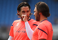 Blackburn Rovers' Danny Graham chats with Bradley Dack during the pre-match warm-up <br /> <br /> Photographer Kevin Barnes/CameraSport<br /> <br /> The EFL Sky Bet Championship - Blackburn Rovers v Charlton Athletic - Saturday 3rd August 2019 - Ewood Park - Blackburn<br /> <br /> World Copyright © 2019 CameraSport. All rights reserved. 43 Linden Ave. Countesthorpe. Leicester. England. LE8 5PG - Tel: +44 (0) 116 277 4147 - admin@camerasport.com - www.camerasport.com