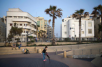 Bauhaus style buildings in Ha Yarkon Street. Tel Aviv is known as the White City in reference to its collection of 4,000 Bauhaus style buildings, the largest number in any city in the world. In 2003 the Bauhaus neighbourhoods of Tel Aviv were placed on the UNESCO World Heritage List.