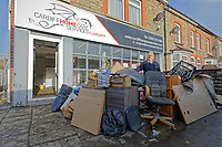 Pictured: Jeff Greenman by the premises of Cardiff Home Care Services that were damaged by the flood. Monday 17 February 2020<br /> Re: Cleanup after storm Dennis in Oxford Street, Nantgarw, Wales, UK.