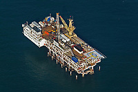 aerial photograph of offshore oil Platform Esther, owned by DCOR; the platform is located approximately 1.5 miles California coast off shore of Seal Beach, Orange County, California