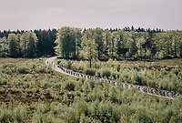 peloton making their way south towards Bastogne over 1 of the highest points in Belgium: the Baraque de Fraiture (651m)<br /> <br /> 104th Li&egrave;ge - Bastogne - Li&egrave;ge 2018 (1.UWT)<br /> 1 Day Race: Li&egrave;ge - Ans (258km)