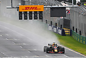 24th March 2018, Melbourne Grand Prix Circuit, Melbourne, Australia; Melbourne Formula One Grand Prix, qualifying; Daniel Ricciardo of Australia driving the (3) Aston Martin Red Bull Racing RB14 TAG Heuer below the new lowered start/finish lights