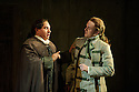 London, UK. 25.09.2015. English National Opera presents THE BARBER OF SEVILLE, by Gioachino Rossini, directed by Jonathan Miller, at the London Coliseum. Picture shows: Eleazar Rodriguez (Count Almaviva), Morgan Pearse (Figaro).  Photograph © Jane Hobson.