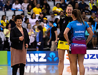 The coin toss is taken for the ANZ Premiership netball grand final between the Central Pulse and Southern Steel at Arena Manawatu in Palmerston North, New Zealand on Sunday, 12 August 2018. Photo: Dave Lintott / lintottphoto.co.nz
