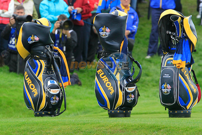 European Team bags during Practice Day 2 at the 2010 Ryder Cup at the Celtic Manor Twenty Ten Course, Newport, Wales, 29th September 2010..(Picture Eoin Clarke/www.golffile.ie)
