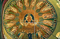 Fresco in the 8th century Greek cross domed Basilica of The Hagia Sophia, γία Σοφία, orHoly Wisdom. A Palaeochristian and Byzantine Monuments of Thessaloniki, Greece. A UNESCO World Heritage Site.