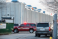 STAFF PHOTO ANTHONY REYES &bull; @NWATONYR<br /> Rogers firefighters and police officers at the scene of an ammonia leak Wednesday, Dec. 10, 2014 at the Tyson Foods plant on Olrich Street in Rogers. Several people were injured in the leak with a variety of minor to serious injuries.