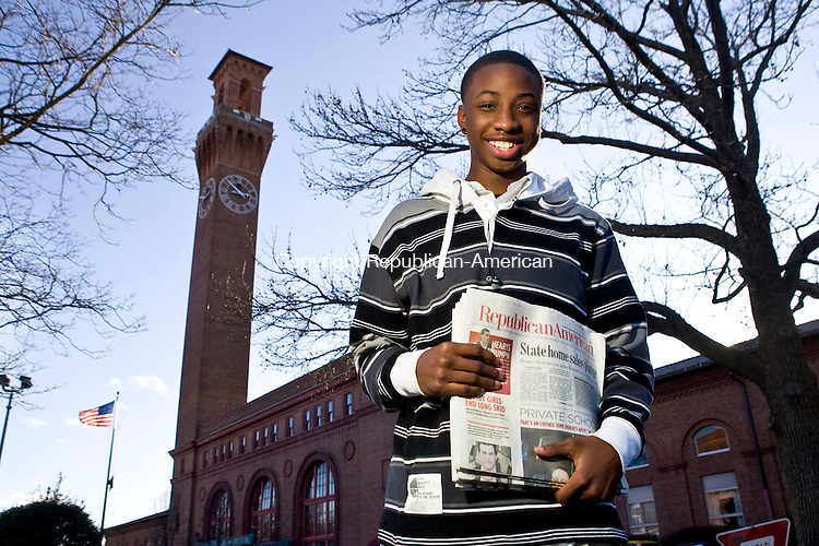 WATERBURY, CT - 08 JANUARY 2009 -010909JT01-<br /> Qu-Vonta Jordan, 15, is a paper carrier who delivers 55 Republican-American newspapers daily and 68 on Sundays.<br /> Josalee Thrift / Republican-American