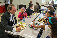 NWA Democrat-Gazette/ANTHONY REYES &bull; @NWATONYR<br /> Rep. David Whitaker talks with students during lunch Thursday, Sept. 17, 2015 at Owl Creek School in Fayetteville. The legislators toured four schools in the Fayetteville district as part of the Legislators in the School initiative. Some legislators will also tour Bentonville and Springdale school on other days.