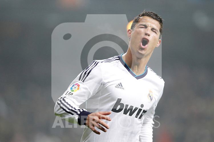 Real Madrid's Cristiano Ronaldo celebrates during king's Cup match. January 10, 2013. (ALTERPHOTOS/Alvaro Hernandez)