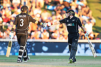 New Zealand's Ross Taylor and Tom Latham. New Zealand Blackcaps v England. One Day International Cricket. Seddon Park, Hamilton, New Zealand on Sunday 25 February 2018.<br /> <br /> Copyright photo: &copy; Bruce Lim / www.photosport.nz