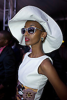 KIGALI, RWANDA NOVEMBER 7: A model waits backstage before the gala night at Kigali Fashion week on November 7, 2014 held at Kigali City Towers in Kigali, Rwanda. Designers and from Rwanda, Burundi and Uganda showed their latest collections at the yearly event. The event was held at a parking lot at a popular shopping mall in Kigali. (Photo by: Per-Anders Pettersson)