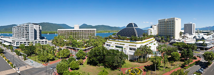 City skyline including Harbour Lights, Hilton Hotel, Reef Hotel Casino and Sebel.  Cairns, Queensland, Australia