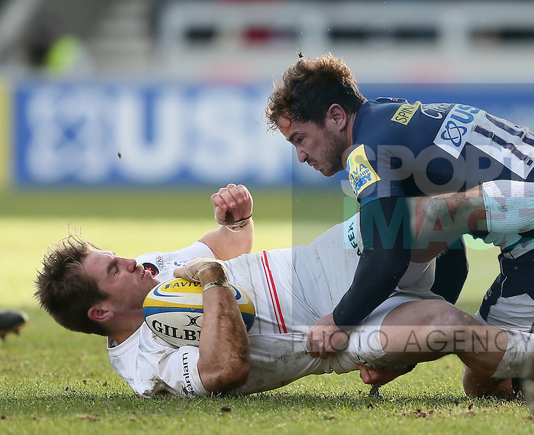 Chris Wyles of Saracens tackled by Danny Cipriani of Sale Sharks - Aviva Premiership - Sale Sharks vs Saracens - AJ Bell Stadium Stadium - Salford - Manchester - England - 21st February 2015 - Picture Simon Bellis/Sportimage