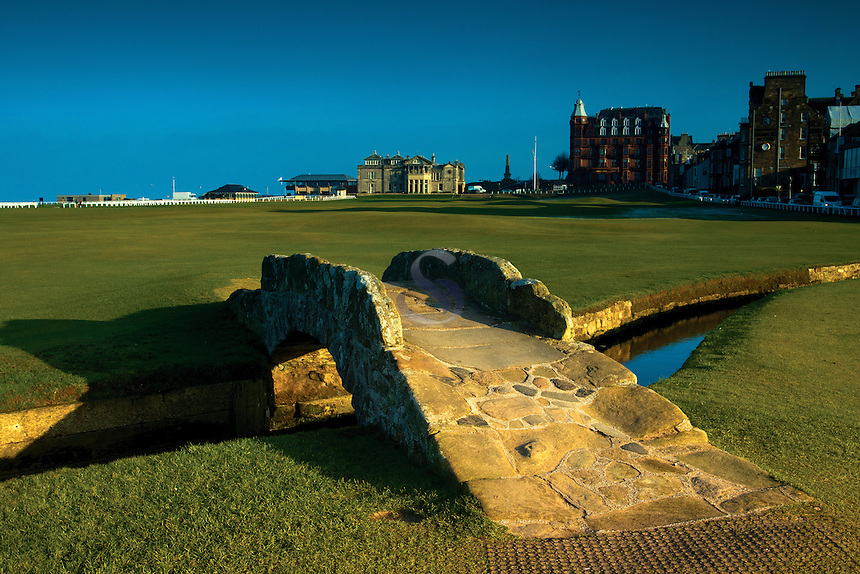 The Swilken Bridge and Swilken Burn, the 18th hole, The Old Course, St Andrews, Fife