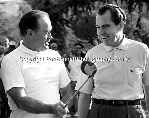 Bob Hope American comedian and actor plays golf with President Richard Nixon 37th President of the United States,  Bob Hope, Richard Nixon,
