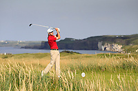 Tom Williams (WAL) on the 15th tee during the Afternoon Singles between Ireland and Wales at the Home Internationals at Royal Portrush Golf Club on Thursday 13th August 2015.<br /> Picture:  Thos Caffrey / www.golffile.ie