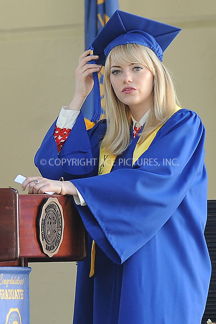 WWW.ACEPIXS.COM . . . . . <br /> June 1, 2013...New York City....Emma Stone on the film set of 'The Amazing Spider Man 2' on the Lower East Side of Manhattan on June 1, 2013 in New York City ....Please byline: Kristin Callahan - ACEPIXS.COM.. . . . . . ..Ace Pictures, Inc: ..tel: (212) 243 8787 or (646) 769 0430..e-mail: info@acepixs.com..web: http://www.acepixs.com