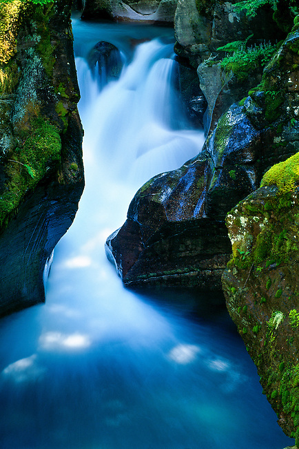 light dappled Avalanche Creek in Glacier National Park, Montana, USA