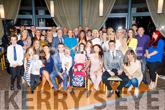 Christening party of Hannah O'Halloran from Tralee in Ballyroe Heights Hotel on Saturday<br /> Seated l to r: Kristie Hill (GM), (Dad) Conor, Callum and baby Hannah O'Halloran, (Mom) Aisling Healy and Darren Healy (GF).