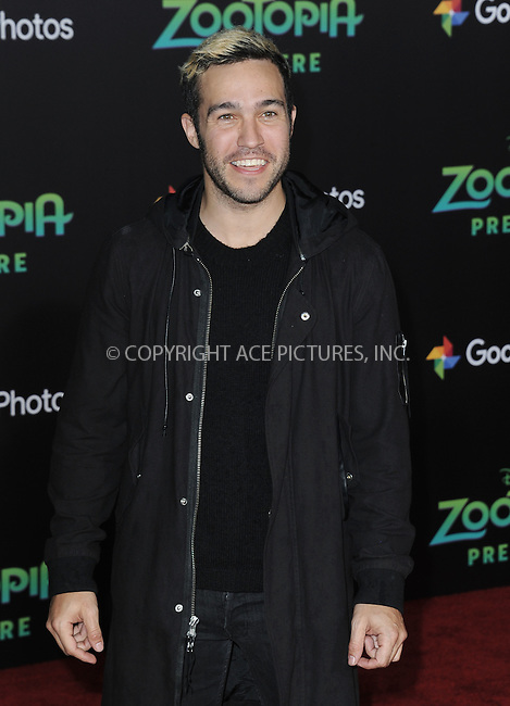WWW.ACEPIXS.COM<br /> <br /> February 17 2016, LA<br /> <br /> Pete Wentz attending the premiere of Walt Disney Animation Studios' 'Zootopia' at the El Capitan Theatre on February 17, 2016 in Hollywood, California. <br /> <br /> <br /> By Line: Peter West/ACE Pictures<br /> <br /> <br /> ACE Pictures, Inc.<br /> tel: 646 769 0430<br /> Email: info@acepixs.com<br /> www.acepixs.com