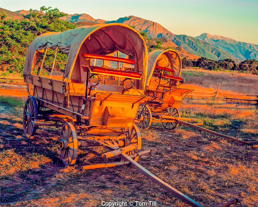 Covered Wagons & Wasatch Mountains, Emigration Canyon, Mormon Trail Pioneer Trails State Park, Salt Lake City, Utah    JUly, 2006