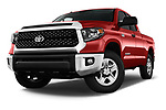 Stock pictures of low aggressive front three quarter view of a 2018 Toyota Tundra SR5 5.7L Double Cab Long Bed 4 Door Pick Up
