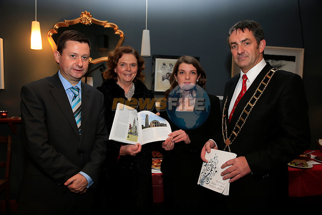 Dennis Cummins, Valerie Atherton, Aideen Morrissey and Mayor Richie Culhane at the launch of the Drogheda Civic Trust book in Drogheda Arts centre.<br /> Picture: Fran Caffrey www.newsfile.ie