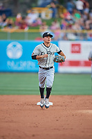 Luis Urias (3) of the  El Paso Chihuahuas during the game against the Salt Lake Bees at Smith's Ballpark on August 13, 2018 in Salt Lake City, Utah. Salt Lake defeated El Paso 4-3. (Stephen Smith/Four Seam Images)