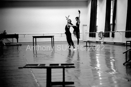 "St. Petersburg, Russia  .1998.Ylyana Lopatkina rehearses for an up-coming performance of ""The Young Man and Death"" a production by Francois Andrei at the Mariinsky Theater.."