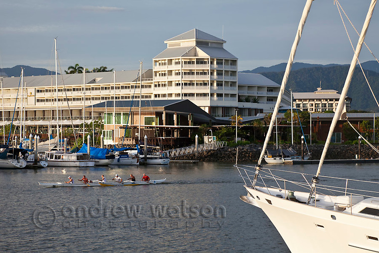 View across Marlin Marina to the Shangri-La Hotel.  Cairns, Queensland, Australia