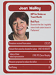 """© Joel Goodman - 07973 332324 . No syndication permitted . 29/09/2013 . Manchester , UK . Joan Walley . """" Top Trumped by the Unions """" cards handed out at the Conservative Party Conference . The Conservative Party Conference at Manchester Central . Photo credit : Joel Goodman"""