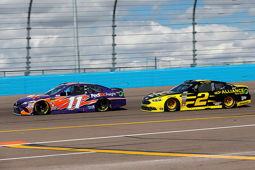 Monster Energy NASCAR Cup Series<br /> TicketGuardian 500<br /> ISM Raceway, Phoenix, AZ USA<br /> Sunday 11 March 2018<br /> Denny Hamlin, Joe Gibbs Racing, Toyota Camry FedEx Freight and Brad Keselowski, Team Penske, Ford Fusion Alliance Truck Parts<br /> World Copyright: Barry Cantrell<br /> NKP / LAT Images
