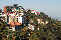 Shimla, once the summertime headquarters of the British Raj, raises its colonial architecture above the Himalayan foothills.