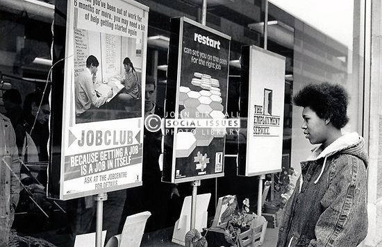 Woman outside Job Centre UK 1998