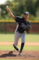 September 29, 2009:  Pitcher Andrew Bellatti of the Tampa Bay Rays system delivers a pitch during instructional league action at Tampa Rays Training Complex in Port Charlotte, FL.  Photo By David Stoner/Four Seam Images