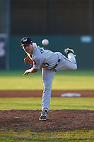 Tri-City ValleyCats starting pitcher Nathan Thompson (17) delivers a pitch during a game against the Batavia Muckdogs on July 15, 2017 at Dwyer Stadium in Batavia, New York.  Tri-City defeated Batavia 5-4.  (Mike Janes/Four Seam Images)