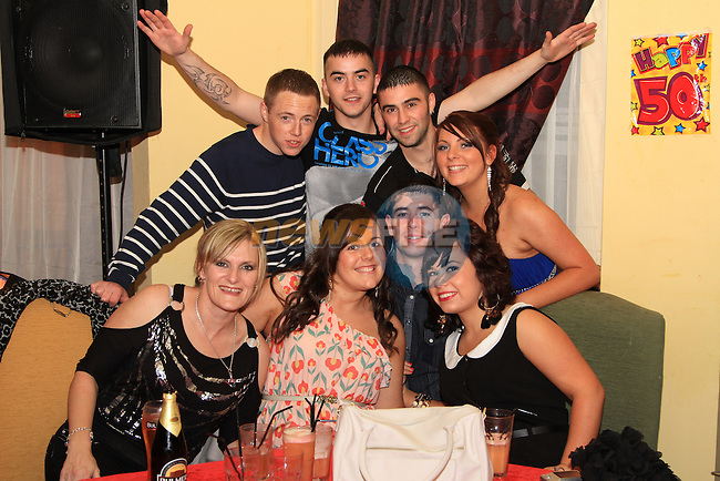 Orlith and Theresa Reilly both celebrate their 21st and 50th birthdays together in Star and Crescent. Pictured are Orlith (back row, right) with some of her friends on the night..Picture: Shane Maguire / www.newsfile.ie